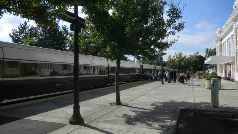 Passengers board a Portland-bound Amtrak Cascades train in Salem.