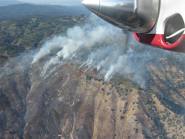 The Springs Fire is is about two miles east of Banks, Idaho, along Highway 17.