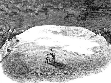 An illustration from a 1869 Harper's Magazine article showing the planting of a flag on the summit of Mt. Baker.