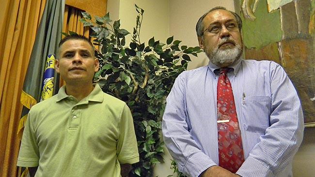 Lead plaintiffs Rogelio Montes (L) and Mateo Arteaga have filed a lawsuit against the City Of Yakima alleging at-large city council elections disenfranchise Latino voters.