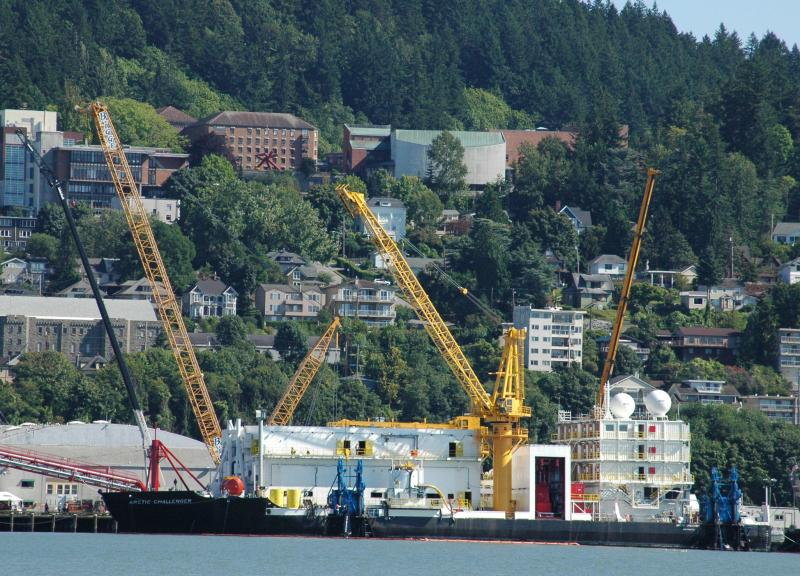 Shell's Arctic Challenger barge under construction on the Bellingham waterfront.