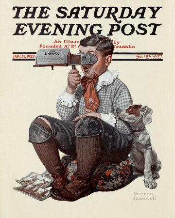 Norman Rockwell's Boy with Stereoscope, the cover of the 14-January-1922 issue of The Saturday Evening Post.