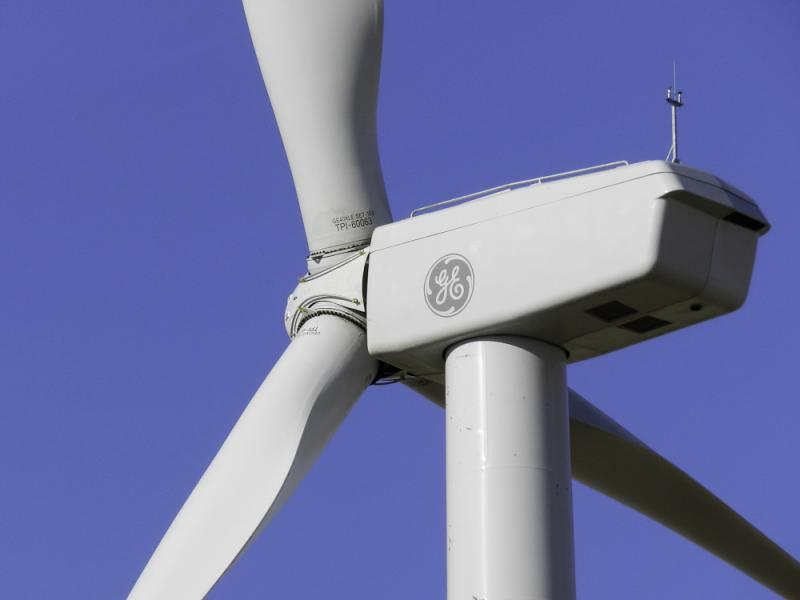 A wind turbine built by General Electric.