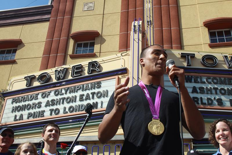 Ashton Eaton speaks at a celebration in his honor in Bend, Ore.