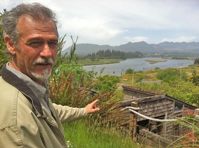Garry Gitzen stands over Oregon's Nehalem Bay, which he claims is where Sir Francis Drake spent five weeks in 1579.