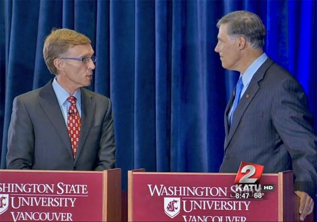 Rob McKenna (L) and Jay Inslee will square off in Yakima on Tuesday night for their third official debate.