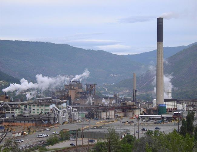 A lead and zinc smelter in Trail, British Columbia, dumped millions of tons of refining waste into the Columbia River between 1896 and 1995.