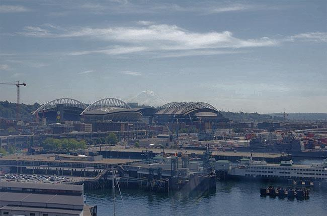 A view of Century Link Field and Safeco Field in Sodo.