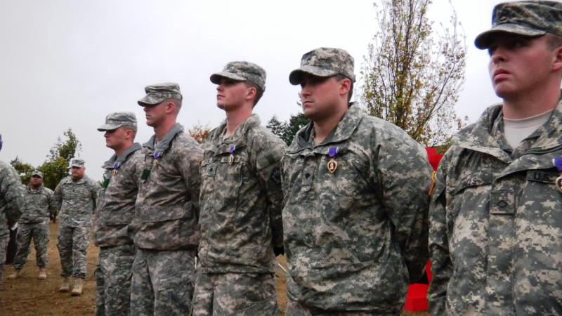 Five Washington soldiers with brain injuries are awarded a Purple Heart in a ceremony at Joint Base Lewis-McChord.