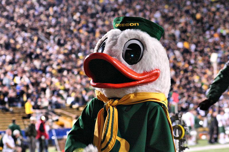 Photo of University of Oregon Duck mascot.
