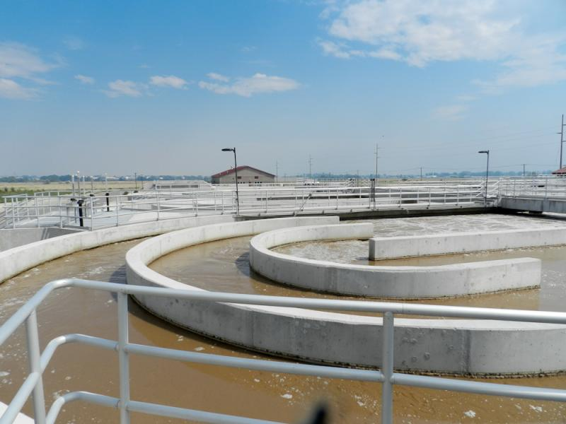 This is the new municipal wastewater treatment plant. It officially opened in 2007. It has been used to treat industrial waste until a more permanent fix can be put in place