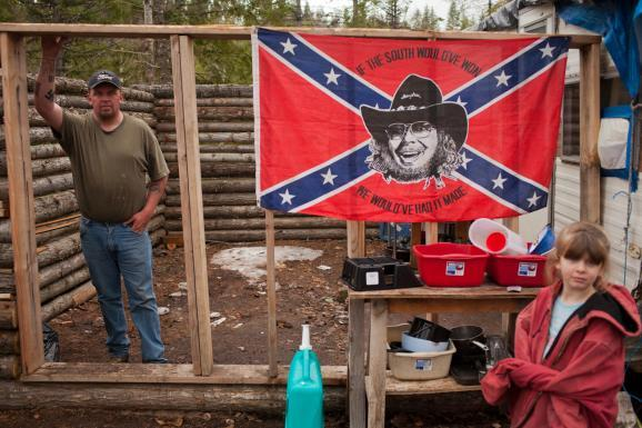Shaun Patrick Winkler, south of Priest River, Idaho, proclaims himself the grand wizard of his local klavrn of the Ku Klux Klan.