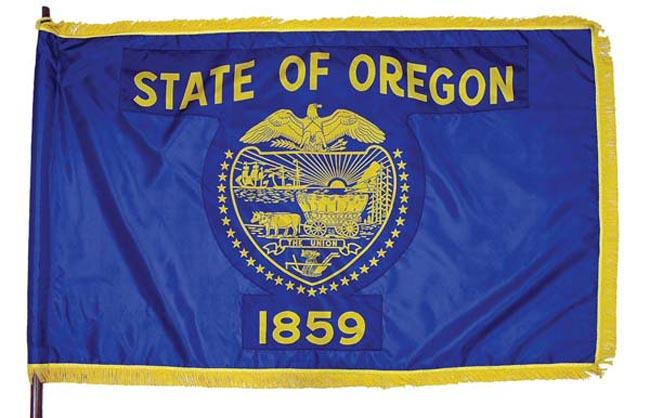 Oregon's current state flag.
