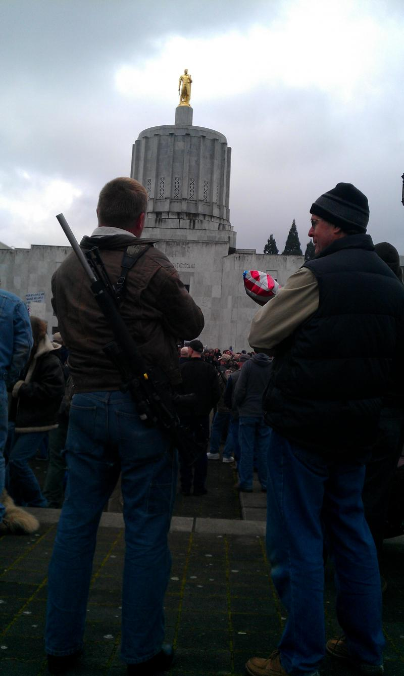 Hundreds of protesters gathered in support of gun rights outside the Oregon capitol Friday.