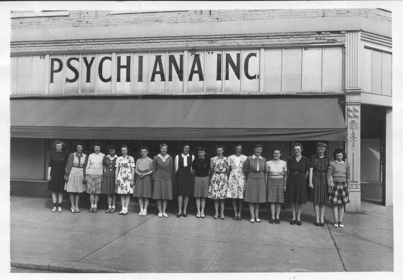 Psychiana staff in front of their 3rd Street building.
