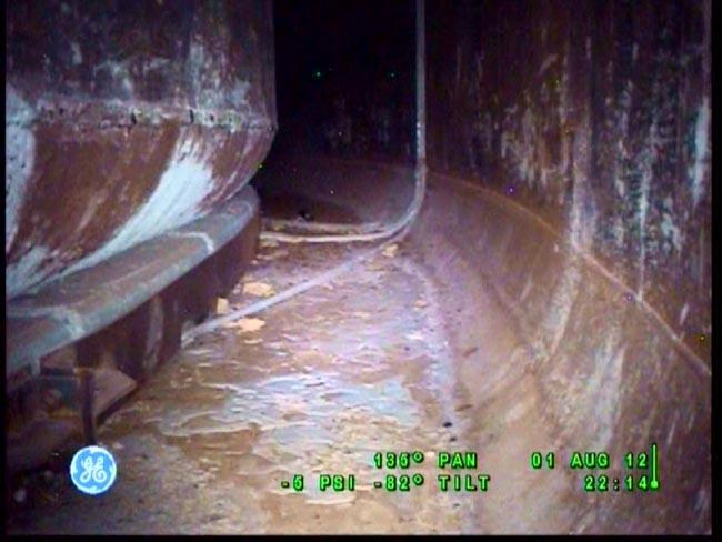 View inside the space between the leaking tanks's two walls at the Hanford Nuclear Reservation.