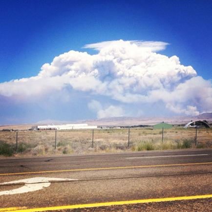 View from near the Airforce Base of the fire burning near Mountain Home, Idaho.