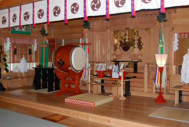 A closer look shrine's alter. Notice the wood. All Shinto shrines are constructed with Hinoki, white cedar.