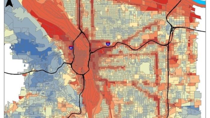 A heat island map of the Portland metropolitan area shows summer temperatures are higher downtown and along major roadways than in the shadier areas such as the 5,100-acre Forest Park.