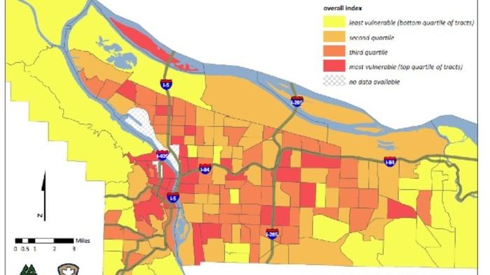 Oregon's Multnomah County used heat island maps to build a heat vulnerability index of the city. It highlights areas where there are more health risks in hot weather.