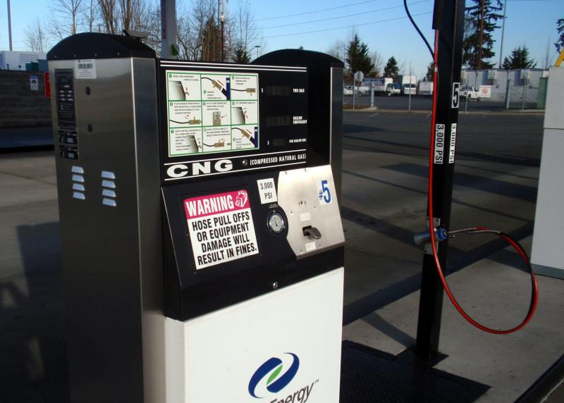 One of the few public CNG fueling stations now in operation in the Northwest is near SeaTac Airport.