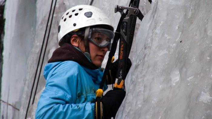 Whitman College freshman Laura Rey makes her way up the Weeping Wall, outside Dayton, Wash. This was Rey's first ice climbing trip.