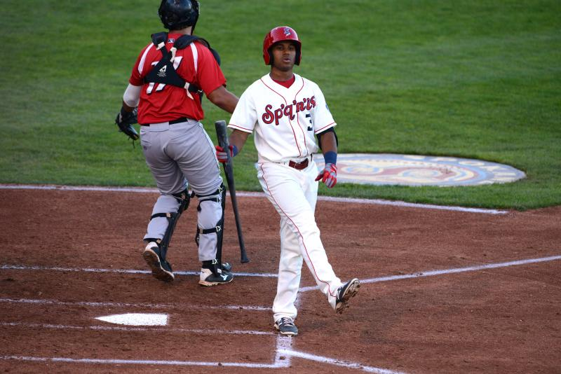 Josh Morgan during an at-bat at Avista Stadium.