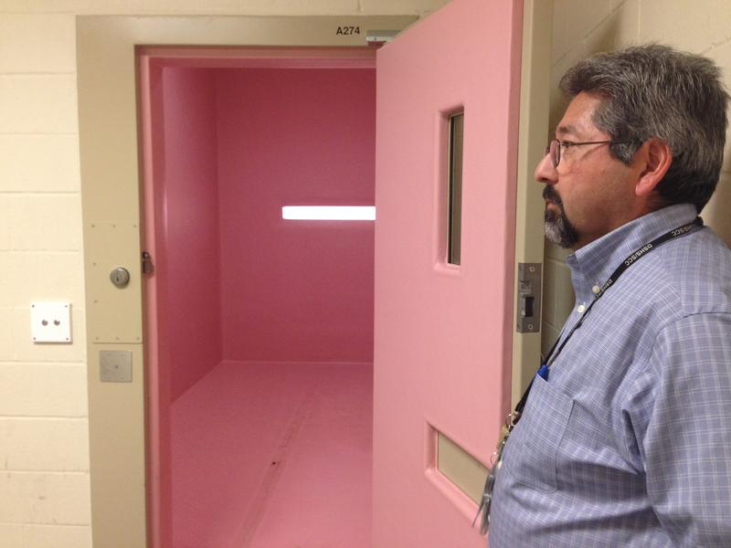 """Al Nerio, a residential program director at the Special Commitment Center, stands at the door of the """"pink room."""" It's a rubberized room where residents who are self-harming are sometimes held."""