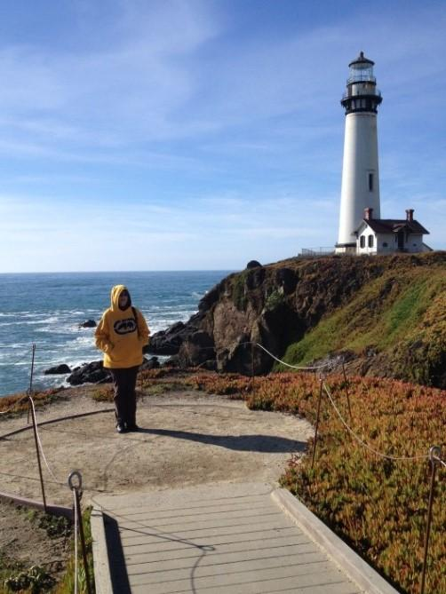 Pamela Doctor at Pigeon Point Lighthouse on the California coast between Half Moon Bay and Santa Cruz.