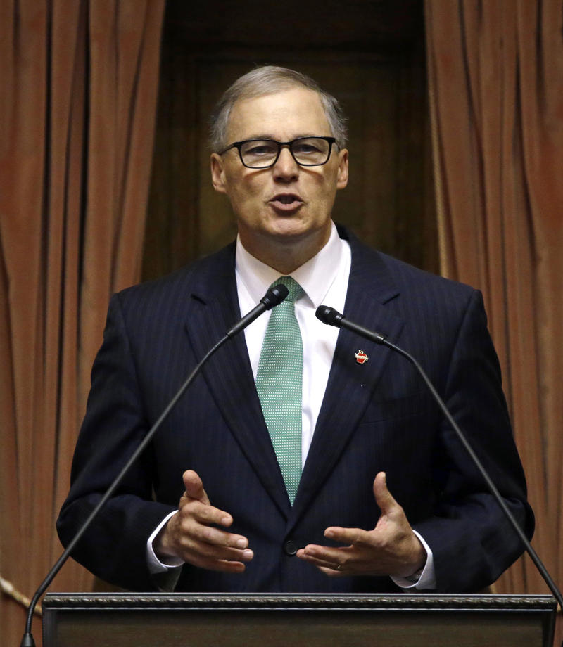 Gov. Jay Inslee speaks during his annual State of the State address Tuesday, Jan. 12, 2016, in Olympia, Wash. The address came on the second day of the 60-day legislative session.
