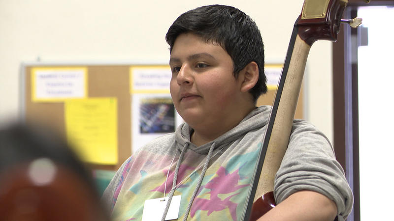 Seventh-grader, Francisco Mendoza says playing the cello relieves his stress and helps him do well in school.
