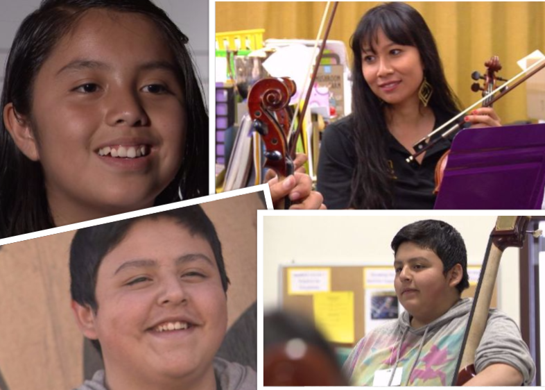 Heidi Villatoro, top left, and Francisco Mendoza, bottom left, say learning to play the cello in YAMA has helped them in school. Both have brought up their grades since participating in the after school music program.