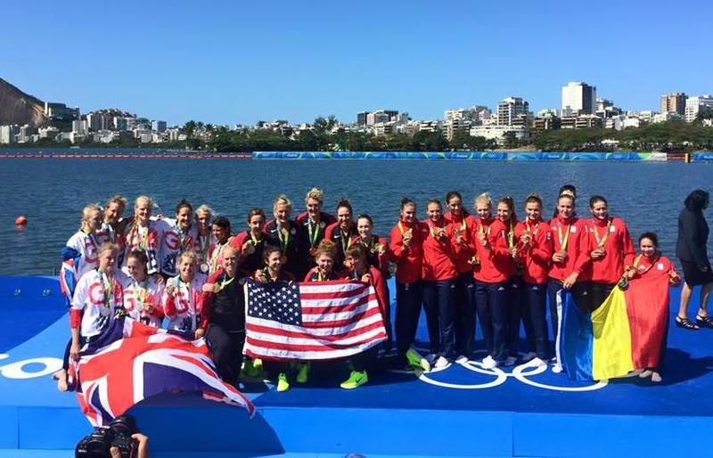 The U.S. women's eight received their gold medals at the finish of the Rio Olympics rowing course. The victorious crew included two former University of Washington Huskies, oarswoman Kerry Simmonds and coxswain Katelin Snyder.
