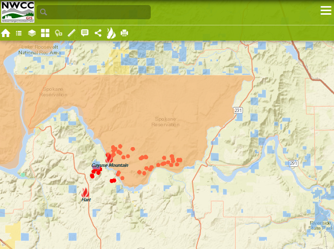 Map showing the Hart Road and Cayuse Fires.