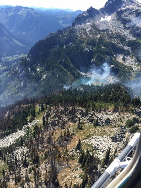An overhead view of the Buck Creek/Saul fire's mixed intensity burn pattern.