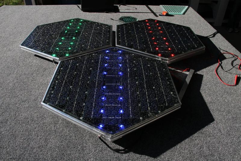 A demonstration from Solar Roadways showing that LED lights are visible in sunlight.