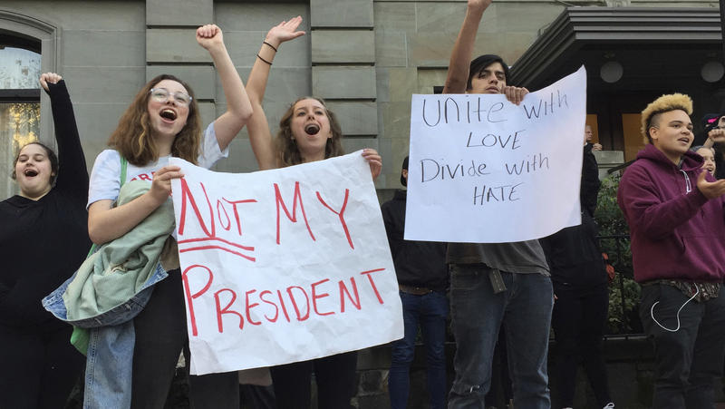 Several dozen students from various high schools in the Portland, Ore., metropolitan area gather downtown to protest Republican nominee Donald Trump's victory in Tuesday's presidential election.