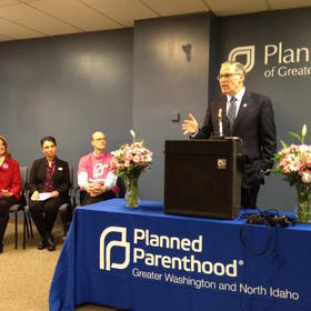Inslee speaks in support of Planned Parenthood.