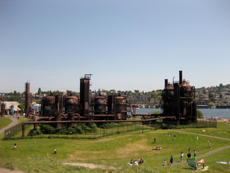 The famous towers and pipes of Gas Works Park were once part of a coal gasification plant that lit up early Seattleites' homes. The landscape architect who designed the park tried to clean up the pollutants left behind.