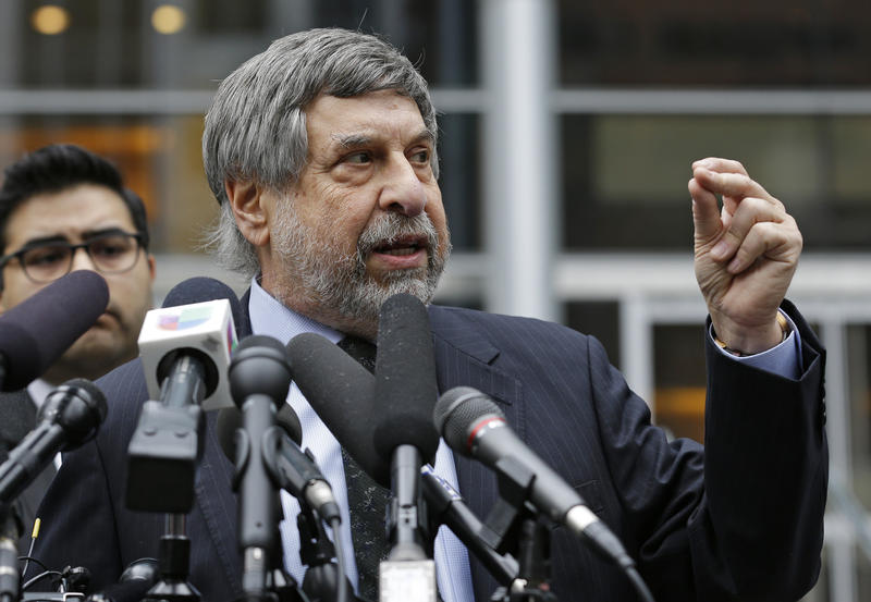 Mark Rosenbaum, an attorney for Daniel Ramirez Medina, talks to reporters outside the federal courthouse in Seattle.