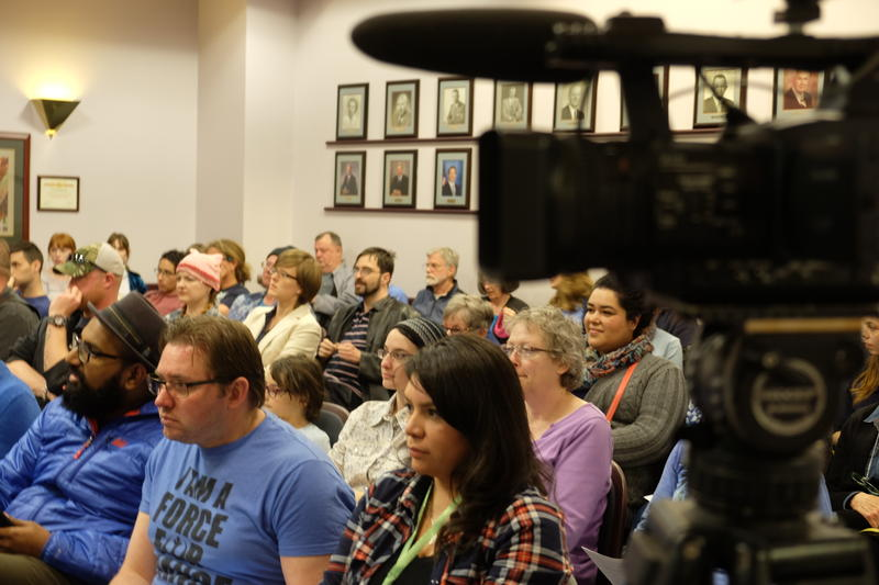 News crews and supporters pack Richland's city hall recently. The crowd was asking the council to adopt an  inclusiveness statement to reaffirm the city's commitment to supporting minorities. Many of the white council members say they don't see racial pro