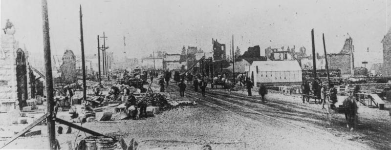 Spokane's Riverside Ave., after the fire of 1889.