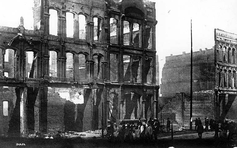 The burned-out shell of a Seattle building. Washington's cities would rebuild in brick after the fire.