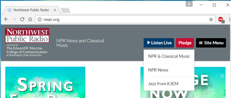 "Step 1: Click on ""Listen Live"" and choose Classics, News, or Jazz."