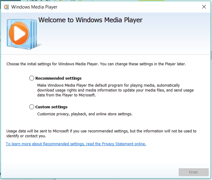 If you haven't used Windows Media Player yet, it will prompt you to make a selection for your settings. Once you've decided...
