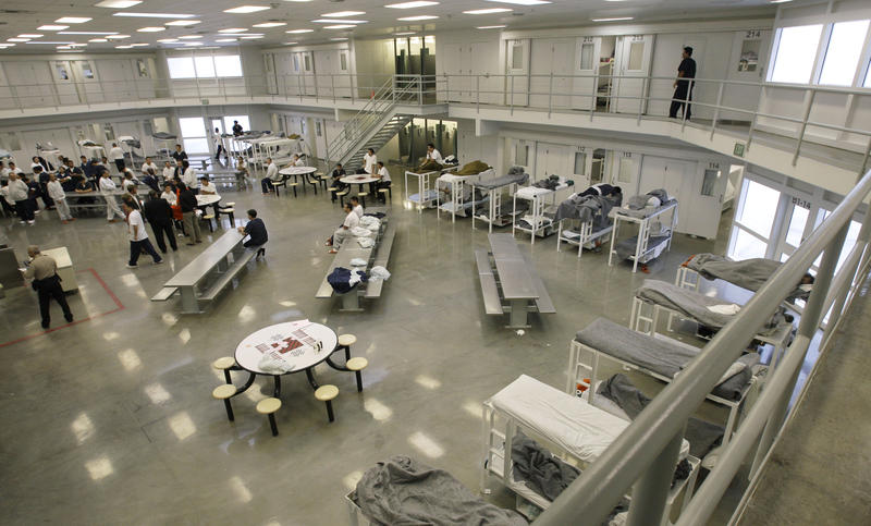 """This 2008 file picture shows the """"B"""" cell and bunk unit of the Northwest Detention Center in Tacoma, Washington."""