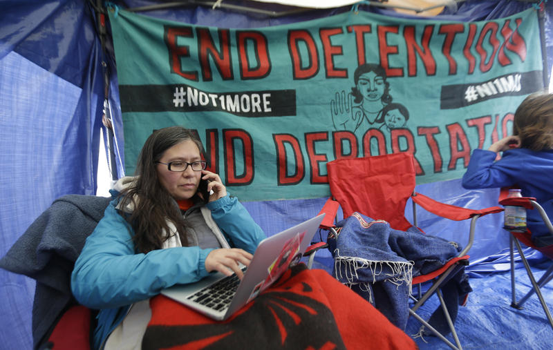 Maru Mora Villapando, and other immigration activists are maintaining a 72-hour vigil outside the Nothwest Detention Center to show support for hundreds of detainees participating in a hunger strike inside the facility.