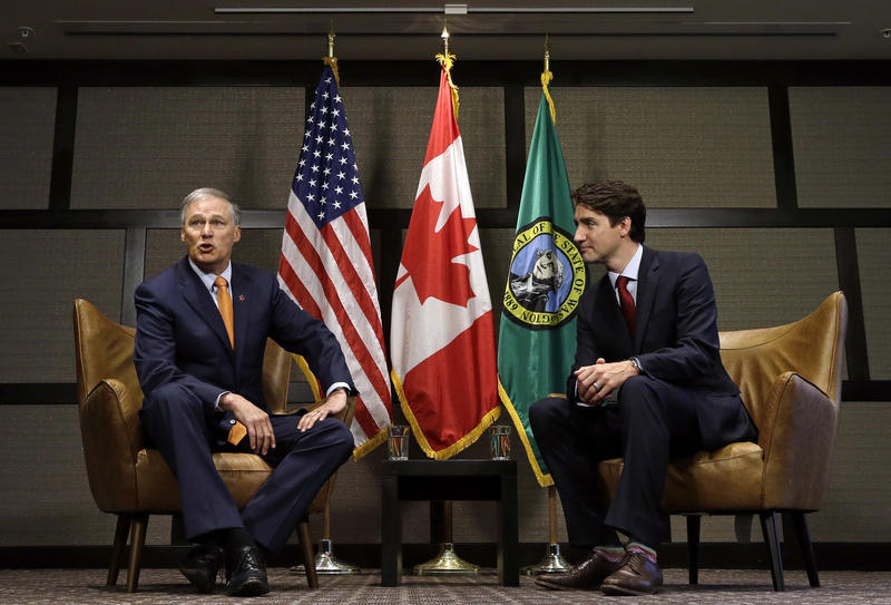 Canada Prime Minister Justin Trudeau, right, and Washington state Gov. Jay Inslee before a meeting Thursday, May 18, 2017, in Seattle. The two were to discuss trade, regional economic development, and climate.