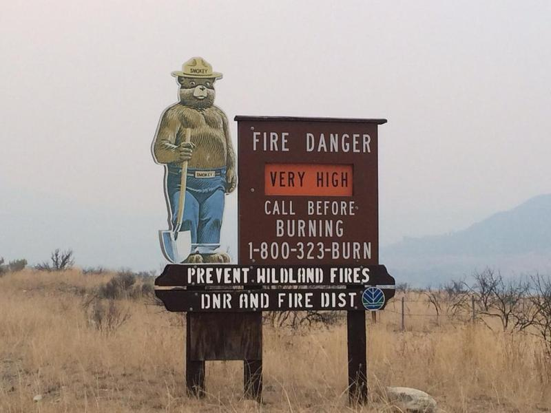 Fire danger sign between Chelan and Pateros, Washington, during the 2015 Chelan and Okanogan Complex fires.