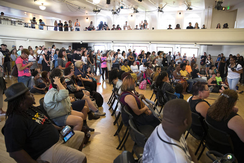 A crowd gathers during mayoral candidate Nikkita Oliver's election night event on Tuesday, August 1, 2017, at Washington Hall on 14th St., in Seattle.